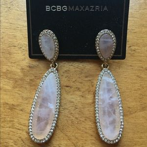 BCBGMAXAZRIA Pink Stone Statement Earrings